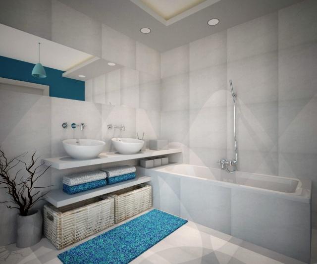 łazienka biało turkusowa