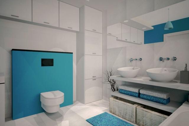 łazienka biało turskusowa